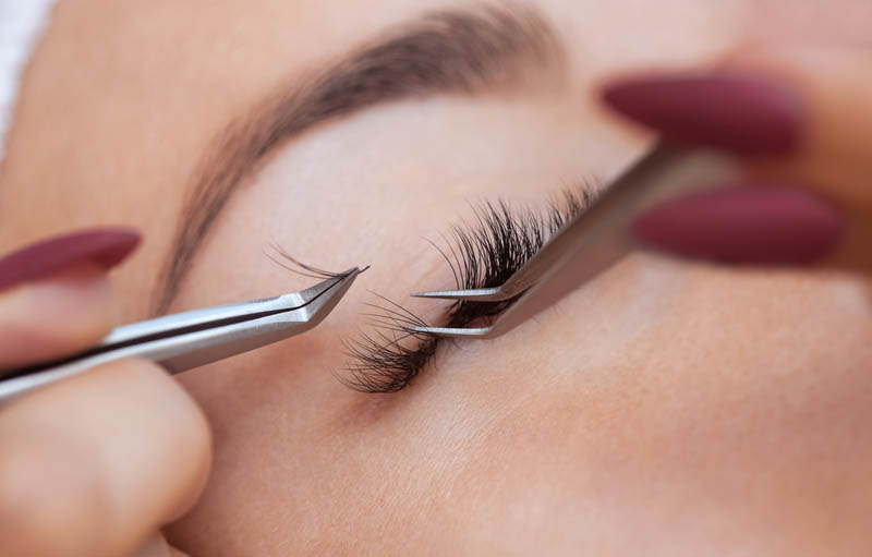 eyelash extension removal procedure close up